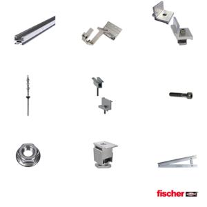 Kit Fissaggio Fischer per impianto 4 kW (14 pannelli da 280 Wp) Tetto a Falda